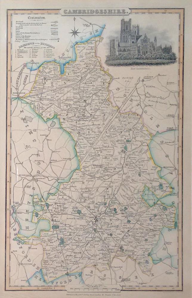 Antique Map Cambridgeshire Pigot 1832 For Sale