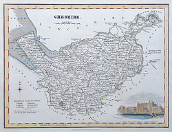 Old Historical Original Maps Of Cheshire 19th Century