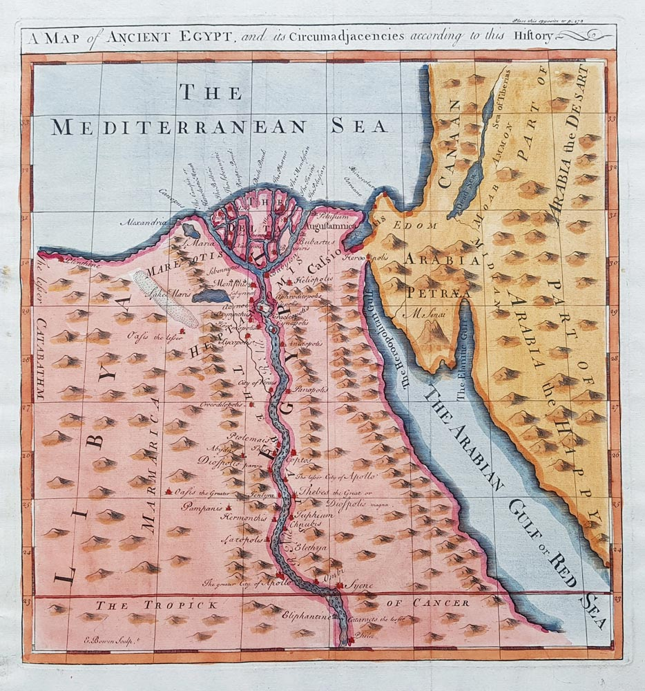 19th Century Antique Map Of Ancient Egypt