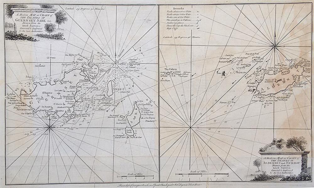 18th Century Antique Chart Channel Islands Joseph Ellis 1766