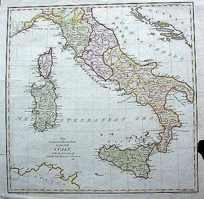 18th century map southern italy sicily sardinia for What is considered antique