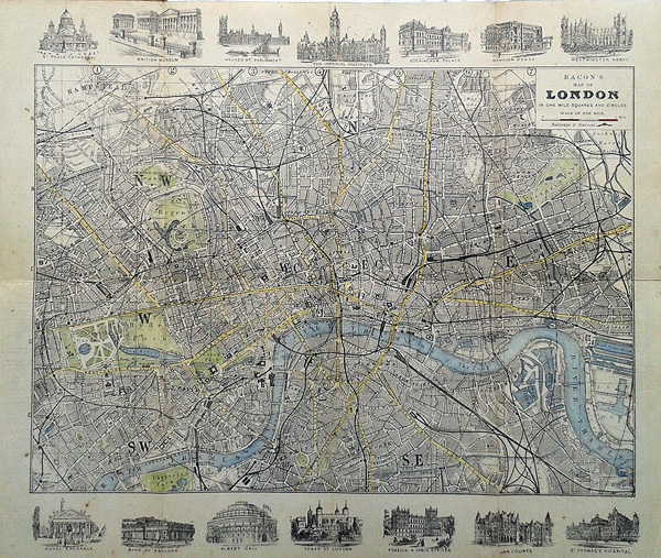 Map Of London 1900.Antique Street Map Of London For Sale Circa 1900