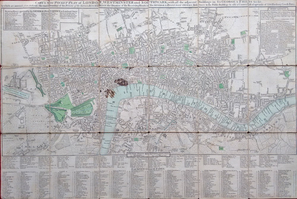 Antique Street Map Of London John Cary 1799 For Sale