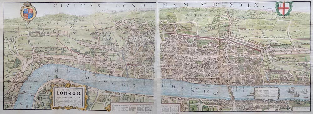 Antique Map Of London In The Reign Of Queen Elizabeth For Sale - Antique maps for sale uk