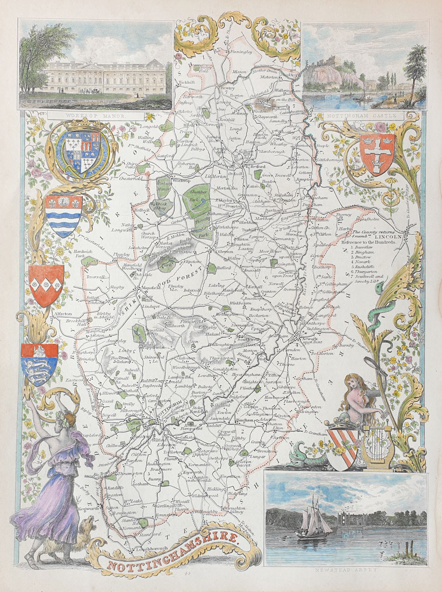 Old Antique Map Nottinghamshire Genuine 19th Century