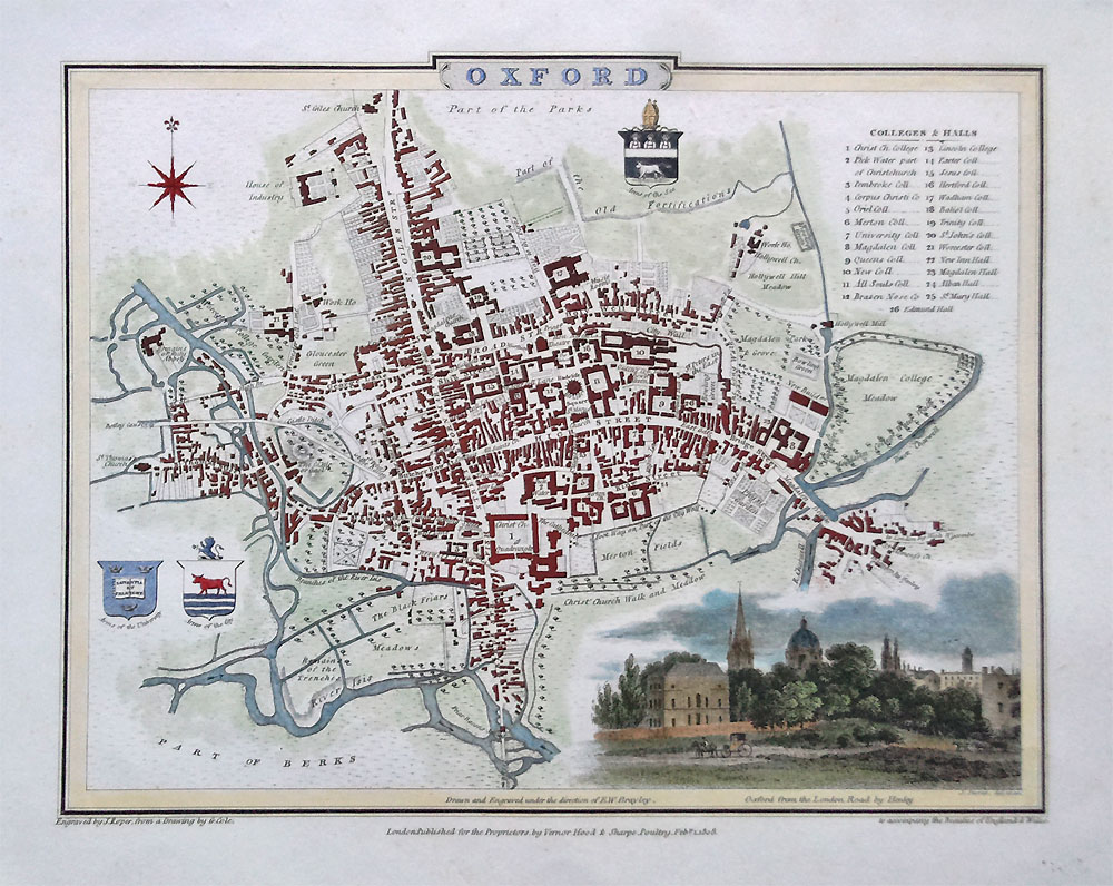 Old Town Map Of Oxford Dated 1806